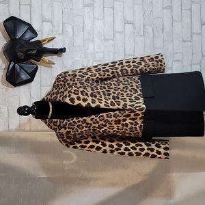 NWOT Zara Leopard Print/Black Color Block Jacket Size S